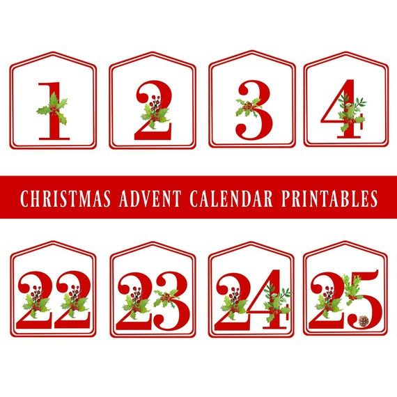 Christmas Countdown Calendar.Diy Christmas Advent Calendar Red Printable Numbers 1 25 Digital Download Christmas Countdown Advent Number Tags Advent Bag Tags