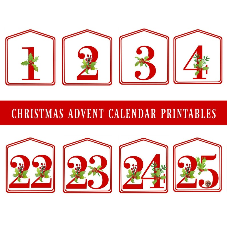 graphic relating to Advent Calendar Printable titled Do-it-yourself Xmas Introduction Calendar Crimson Printable Figures 1 - 25, Electronic Obtain, Xmas Countdown, Arrival Selection Tags, Introduction Bag Tags