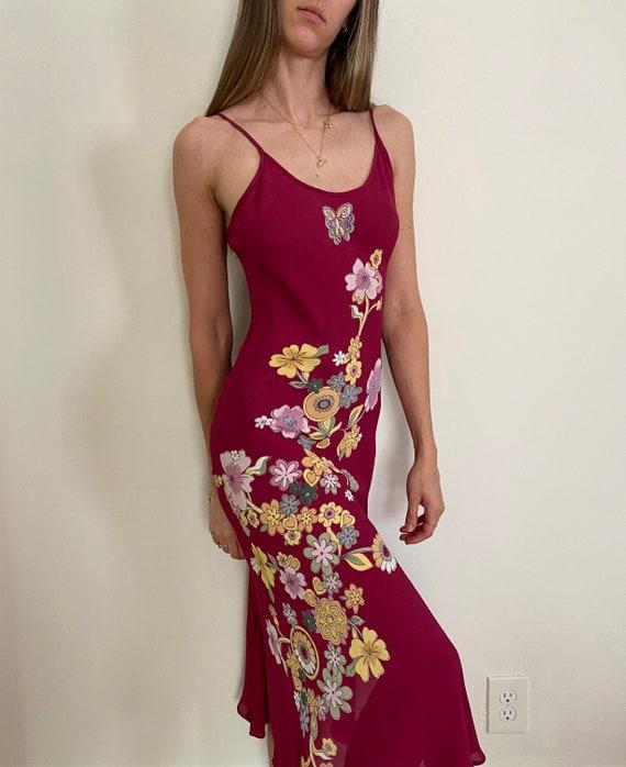 90s Silk Bias Cut Dress S