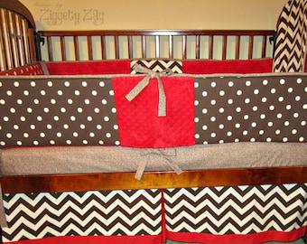 Baby Crib Bedding Sock Monkey Red Brown
