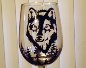 Hand painted wolf wine glass