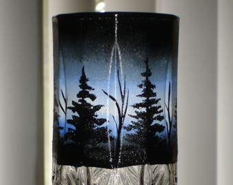 Pine trees drinking glass (1 available right away)