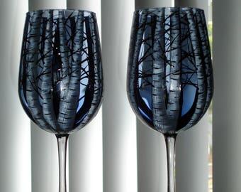Set of 2 blue tinted birch tree wine glasses