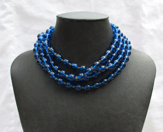Vintage Colbalt Blue Glass Mardi Gras Beads
