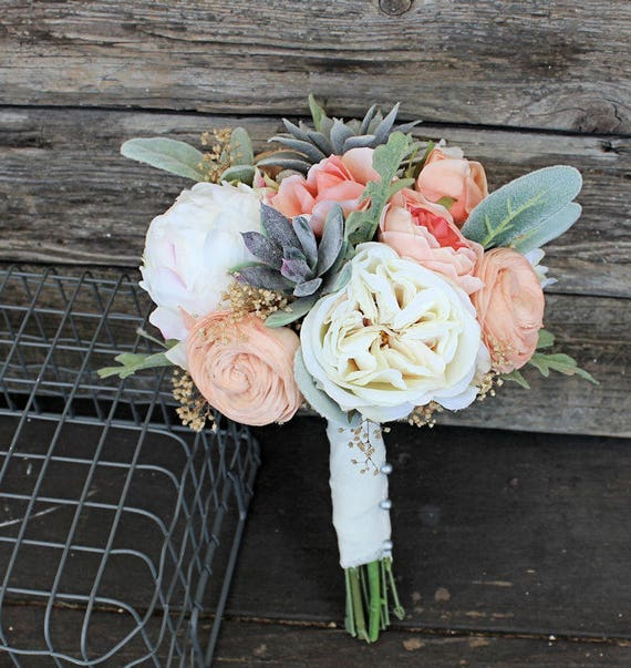 Bridesmaid bouquet faux succulents silk flowers peonies etsy image 0 mightylinksfo