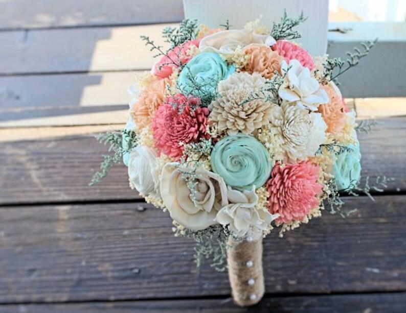 0e710d3a610eb Handmade Wedding Bouquet- Mint Coral Peach Bridal Bouquet, Alternative  Bouquet, Sola Flowers, Keepsake Bouquet, Rustic Wedding