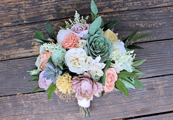 Bridal bouquet sola flowers faux succulents silk flowers etsy image 0 mightylinksfo