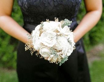 Bridesmaid Bouquet - Vintage Collection, Wedding Bouquet, Ivory Lace Black Keepsake Alternative Bouquet, Sola Bouquet, Rustic Wedding