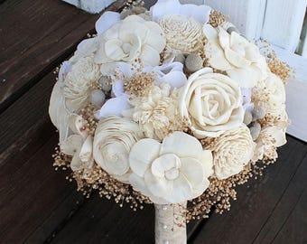 Wedding Bouquet - Vintage Collection, Ivory Lace Keepsake Alternative Bouquet, Sola Bouquet, Sola Flowers, Bridal Bouquet, Silver Brunia