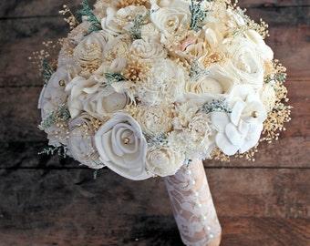 Wedding Bouquet - Vintage Collection, Large Ivory Lace Gold Keepsake Alternative Bouquet, Sola Bouquet, Rustic Wedding