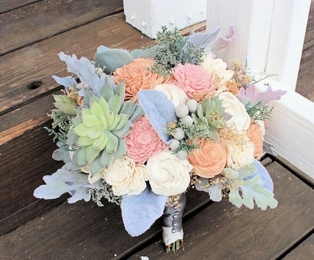 a96d5f1141c67 Bridal Bouquet - Sola Wood Flowers, Succulents, Dusty Miller, Peach ...