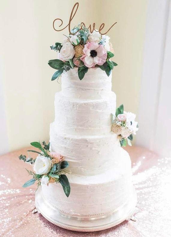 Gâteau De Mariage Fleurs Gâteau Fleurs Soie Sola Fleurs Eucalyptus Anémones Pivoines
