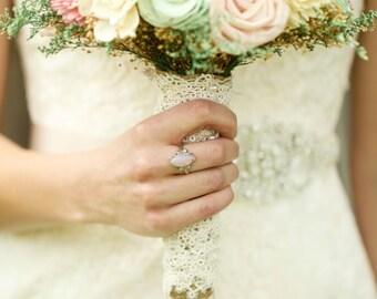 Romantic Wedding Bouquet -Pink and Mint Collection, Large Keepsake Alternative Bouquet, Sola Bouquet, Rustic Wedding