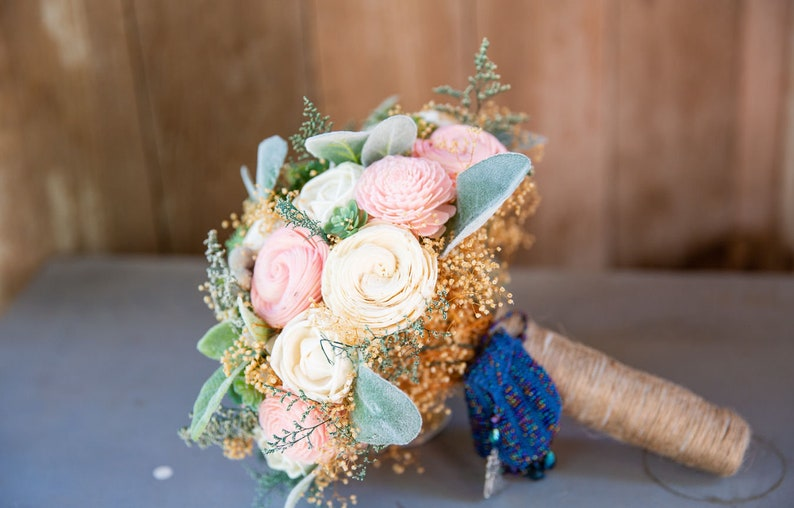 Sola Flower Succulent Bridal Bouquet - Hen and Chick, Ivory and Blush Wood  Flowers, Lambs Ears, Artificial Succulents, Wedding Flowers