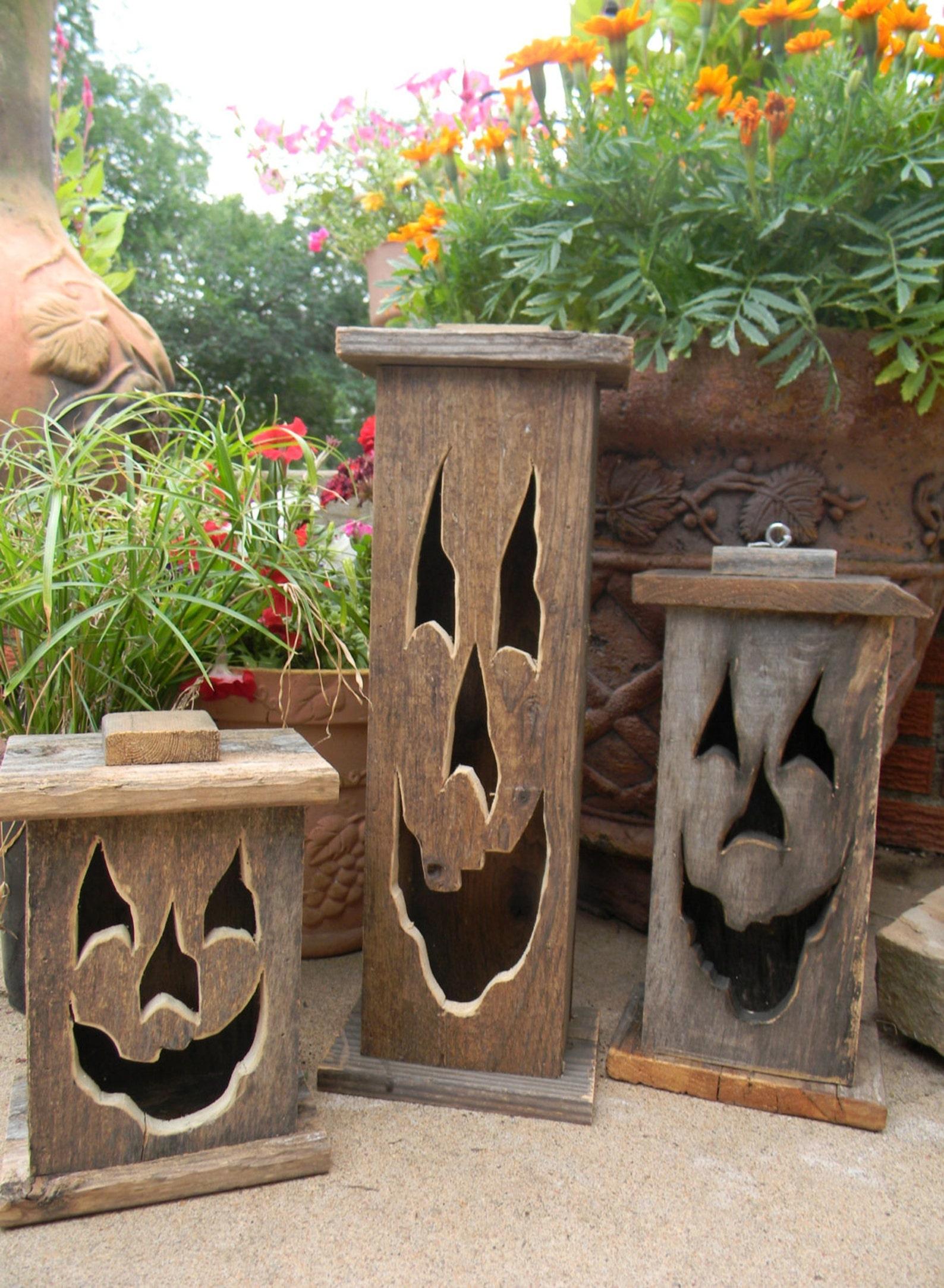 Wood Jack O Lantern Lanterns