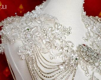 Gemstone lace shawl《Maya》Wedding / Bridal -lace cover up