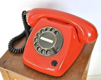 Bewerkt rode roterende telefoon | roterende telefoon werken | T65 telefoon | retro telefoon | roterende telefoon werken | gift voor hem