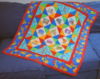 Patchwork baby quilt, Thomas the Train