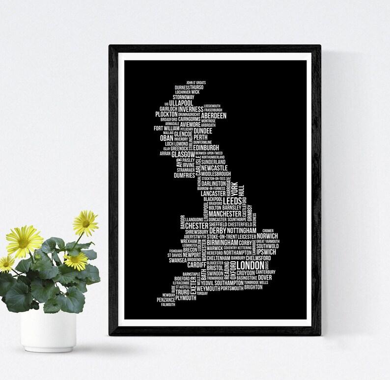 Carte Angleterre Ecosse.Uk Personnalise Carte Angleterre Ecosse Et Pays De Galles Etsy