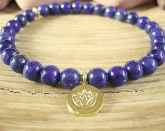 Lapis Lazuli Bracelet - Lotus Bracelet with Gold Lotus Flower Charm, Blue Yoga Mala Beads for Protection, Intuition, Stress and Wisdom