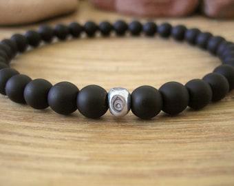 Mens Evil Eye Bracelet - Mens Black Bracelet with Fine Silver Bead, Matte Black Stone Beads, Simple Minimalist Bracelet for Protection