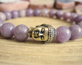 Buddha Bracelet - Lavender Jade Bracelet with Gold Buddha Bead, Purple Jade Yoga Mala Bead Bracelet for Peace, Healing and Protection