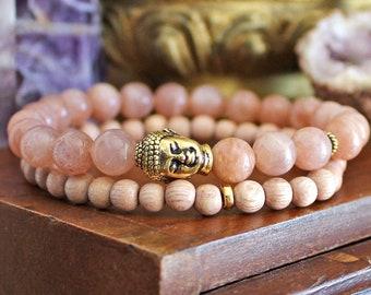 Buddha Bracelet Set - Sunstone Bracelet with Gold Buddha, Boho Jewellery, Gemstone and Pink Rosewood Beads for Positive Thinking