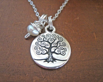 Tree of Life Necklace - Pearl Charm Necklace with Sterling Silver Chain, Boho Tree of Life Pendant, Worn for Truth and Calmness