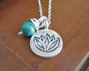 Turquoise Necklace - Lotus Necklace with Sterling Silver Chain, Fine Silver Pendant, Yoga Jewelry, Blue Stone for Protection and Stress