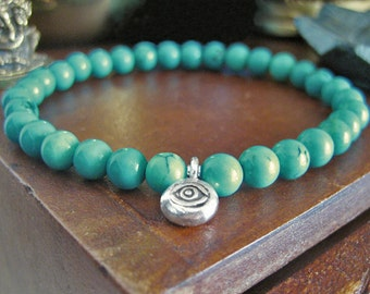 Evil Eye Bracelet - Turquoise Bracelet with Fine Silver Eye Charm, Bohemian Turquoise Jewellery, Blue Green Turquoise beads for Protection
