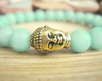 Amazonite Bracelet - Buddha Bracelet with Gold Buddha and Lotus Seed Mala Bead, Aqua Blue Green Stone for Healing and Overcome Obstacles