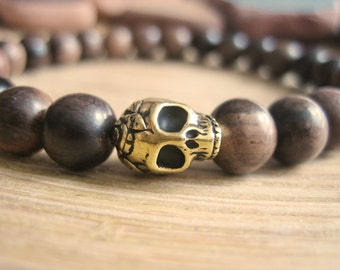 Mens Skull Bracelet - Wood Bracelet for Men with Tiger Ebony Beads and Gold Skull, Brown Wooden Beads for Strength and Transformation
