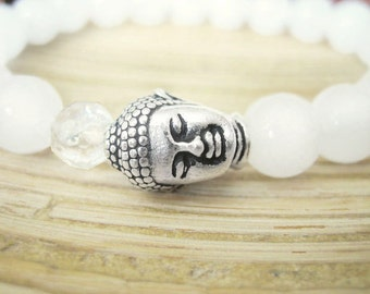 Buddha Bracelet -  White Jade Bracelet with Quartz Crystal Mala Bead and Silver Buddha, Yoga Bracelet for peace, Mindfulness, Manifesting