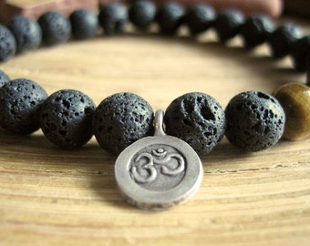 Mens Om Bracelet - Lava Stone Bracelet with Tigers Eye Bead and Fine Silver Om Charm, Mens Gift for Protection, Prosperity and Success
