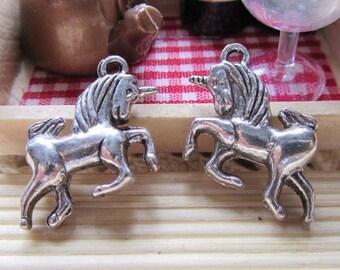 12pcs Antique Silver Horse Unicorn Charm Pendants 15x20mm A301-5