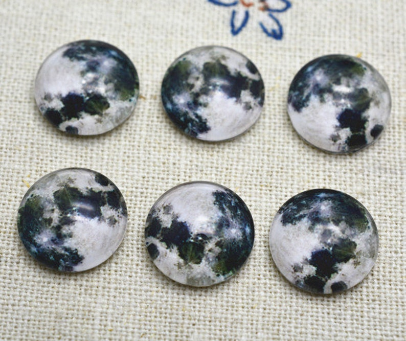10pcs 12mm Round Handmade Photo Glass Cabochon Earth