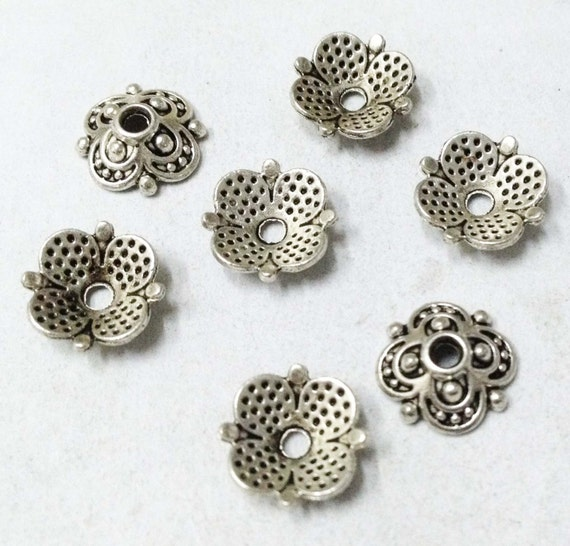 50PCS Antique Silver Tibetan Silver Square Bead Caps Finding Lead Free 10mm