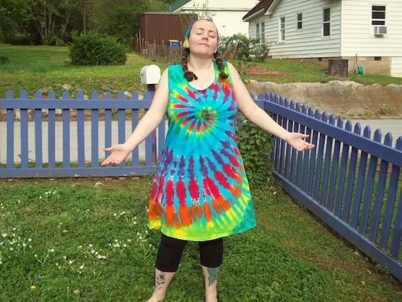 S M L XL 2X 3XL Tie Dye Dress- Adult and Plus Size Tie Dye Dress- Rainbow  Sky Tie Dye Tank Dress