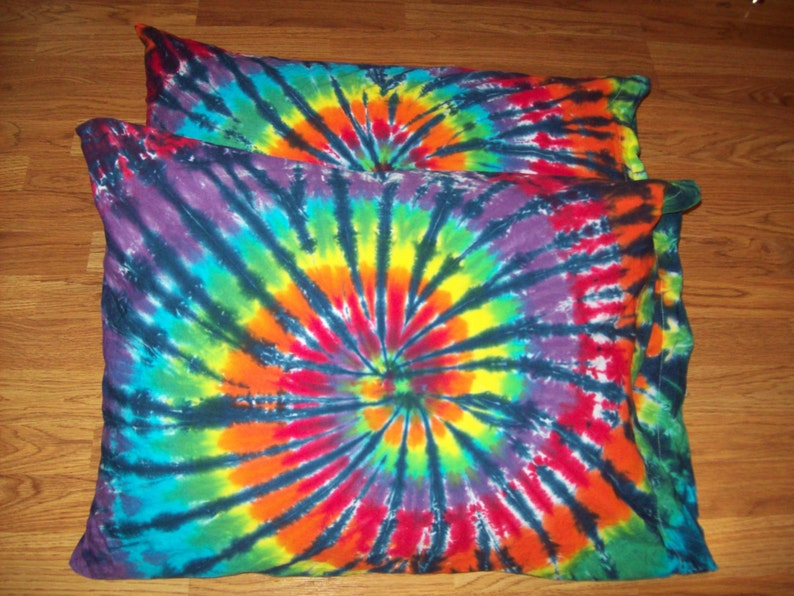 1e9760c8d7e4b 2 Tie Dye Pillow Cases- Set of 2- tie dye pillowcases, tie dye bedding,  Rainbow Tiger