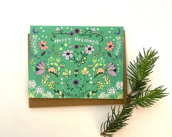 Folk Happy Holidays Card - holiday greeting card merry xmas, design, green, christmas