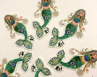 Mermaid Sticker - mermaid stickers, 3 inch vinyl, sea, ocean, beach, ocean lover gift sticker for water bottle laptop mermaid love mermaids