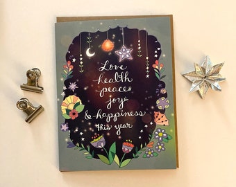 Love Health New Year Card - New Year greeting card, peace joy everything this year starry moon magic rainbow magical new year card
