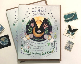 Winter Solstice Card - holiday greeting card, yuletide card, happy winter, unique holiday cards