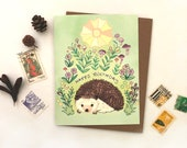 Hedgehog Greeting card - sun hedgehog card, hedgehogs birthday card, cute animal cards, hedgehog birthday