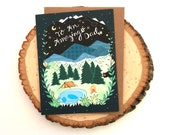 Dad camping card - Father's Day Card - forest Dad - Greeting Cards, Holiday Cards, lake pond woodland mountains adventure dad card