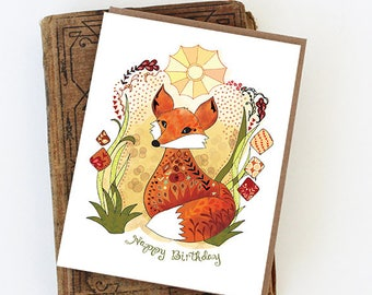Fox Card - Sun Fox Greeting Card Card, birthday fox, happy birthday fox paper goods
