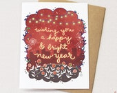 Bright Happy New Year Card - Holiday card, New years day, starry, city card, happy new year greeting cards, bright red chinese new year
