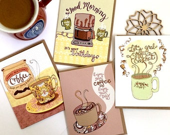 Coffee Cards Gift Set of 8 - coffee lover, coffee greeting cards, coffee stationery, coffee mugs, coffee gift
