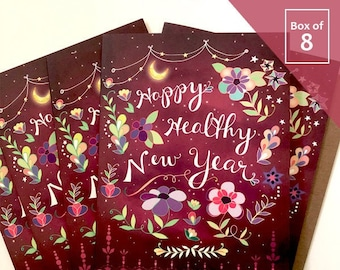 Healthy New Year Card - Box of 8 holiday cards Happy new year, healthy card, 2021 new year, magenta greeting cards, boxed notes
