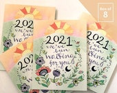 2021 New Year Card - BOX of 8 holiday cards Happy new year, waiting for 2021, happy new year greeting card, mountains, funny new year card